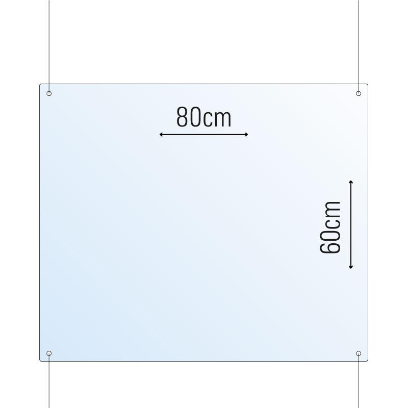 Schutzwand / Hygienewand / Spuckschutz deckenhängend 80x60